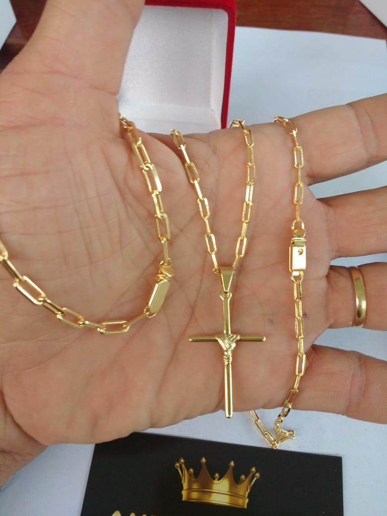 861b12c3c04 Corrente + Pulseira + Pingente Banhado Ouro 18 K + 2 Brindes - R ...