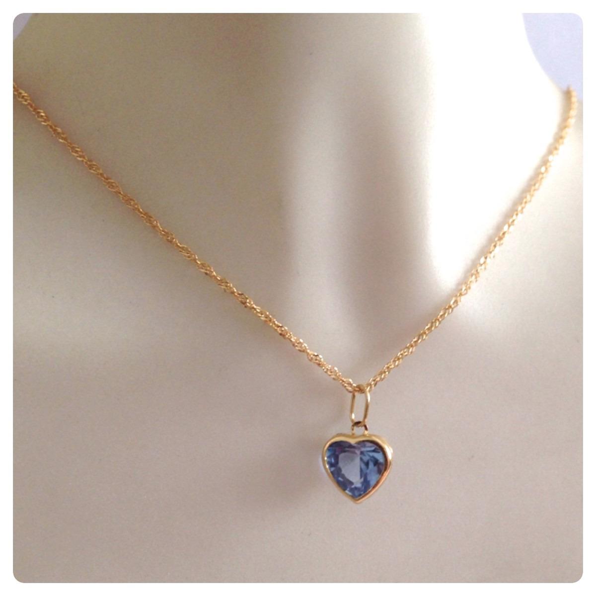 corrente singapura cordão de 50cm pingente coração ouro 18k. Carregando  zoom. e23ea9b3b3