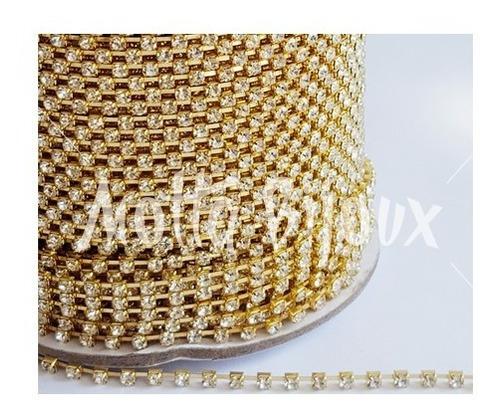 corrente strass ss10 dourado rolo com 100 metros