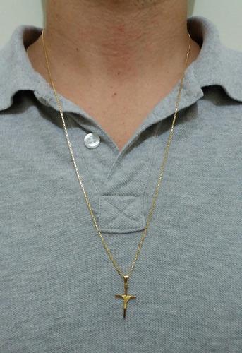 corrente tijolinho veneziana 1mm 70cm com cruz banhados ouro