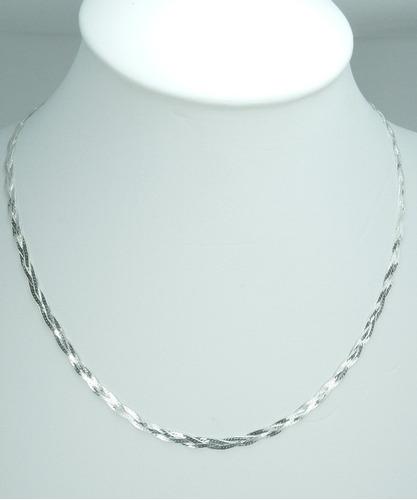 corrente trançada feminina 3 fios em prata 925