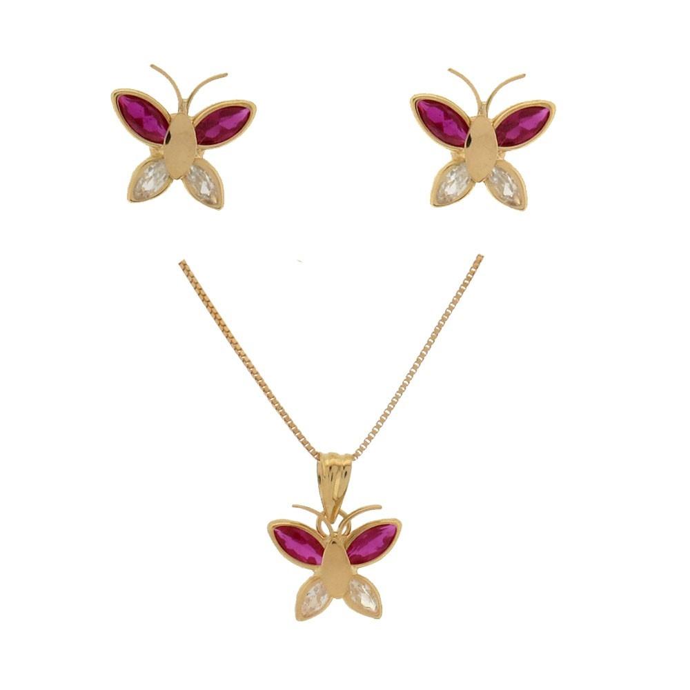 corrente veneziana 45cm + pingente + brinco - ouro 18k jóias. Carregando  zoom. bfdf555407
