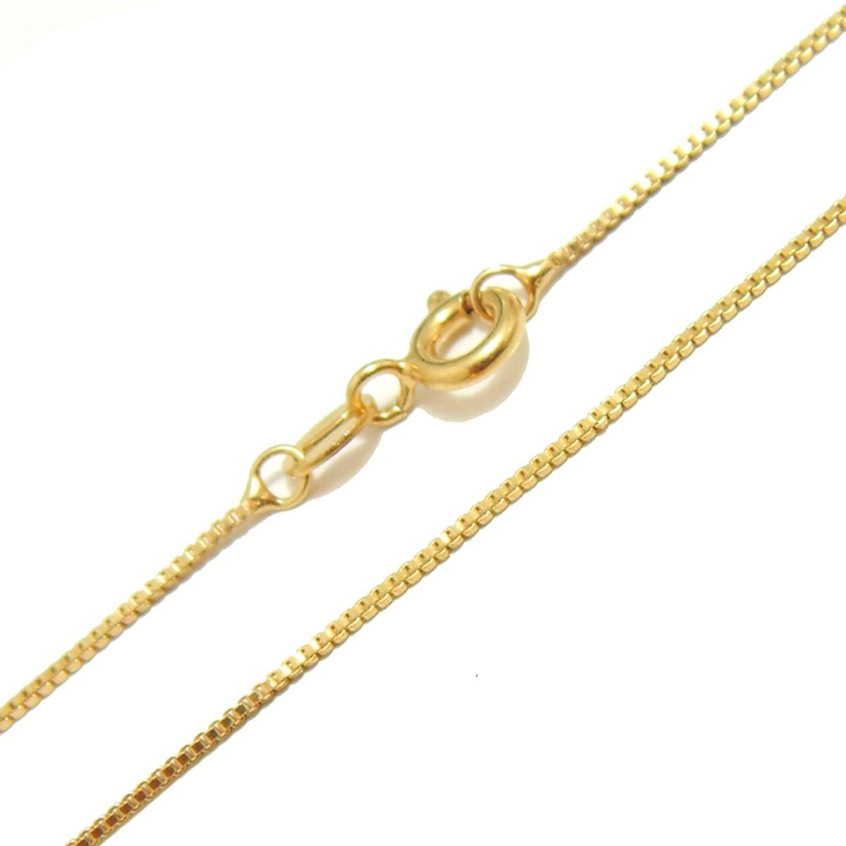 corrente veneziana feminina de prata banhada a ouro 24k 45cm. Carregando  zoom. f4f2879e76