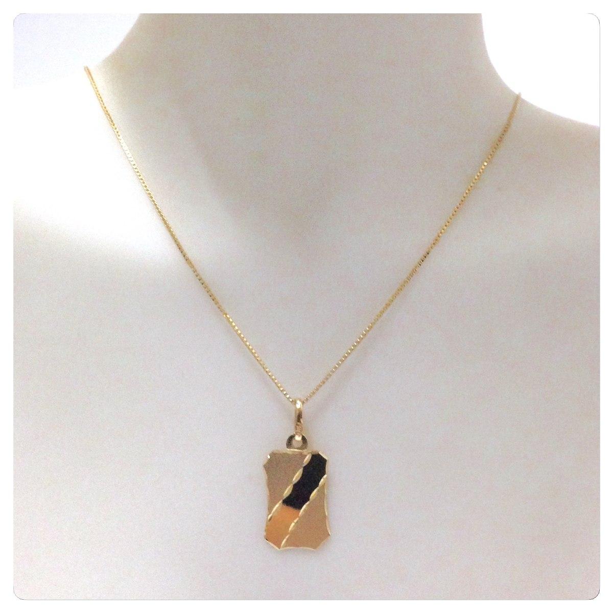 corrente veneziana masculino 60 cm e pingente placa ouro 18k. Carregando  zoom. 6025543e7c