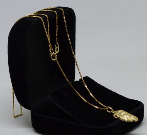 corrente veneziana ouro 18k 750 60 cm pingente face cristo