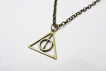 corrente,colar,unissex,ouro velho,harry potter,medalhão