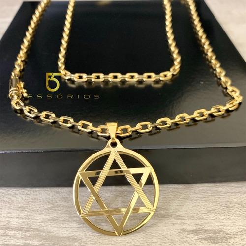 correntes banhada a ouro cadeadinho cordão cartier 70cm e  3mm com pingente estrela de davi salomão