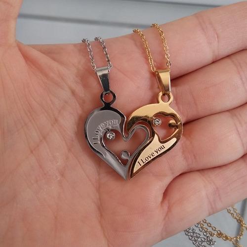 correntinha casal de namorados chave e coração eu te amo