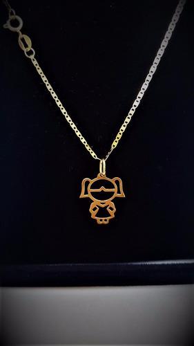 correntinha de ouro 18 k piastrine c/ ping menino ou menina