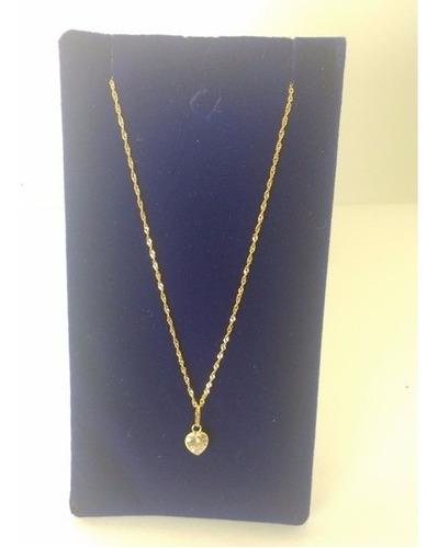 correntinha de ouro 40cm 18 k 750 com pingente de coraçao