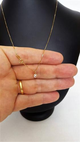 correntinha em ouro 18k 45cm veneziana c/ pingente coração
