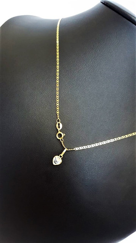 correntinha feminina em ouro 18k piastrine 50cm ping coração
