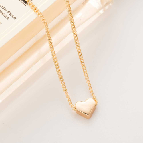 correntinha feminina fina banhada ouro pingente coração 45cm