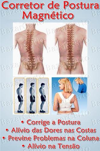 corretor de postura magnética cinta masculino - frete grátis