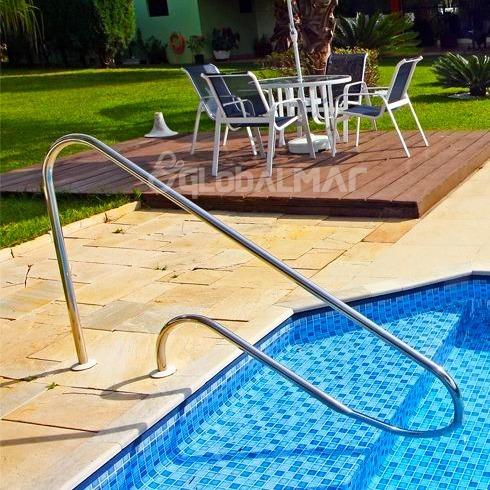 corrimão em aço inox para piscinas de fibra vinil 1 1/2'