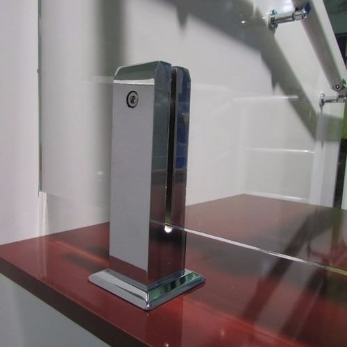 corrimão torre quadrada p/vidro 10mm cromado #chf6