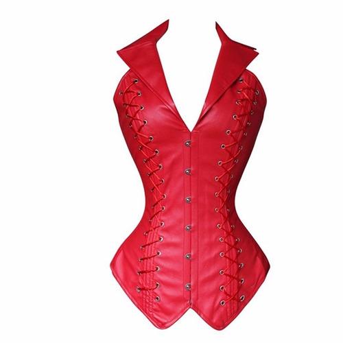 corselet corset espartilho plus size couro alças p ao 2gg
