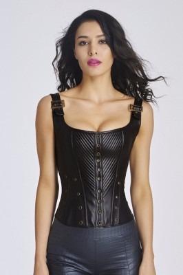 corselet corset espartilho plus size couro com alça  p a 2gg