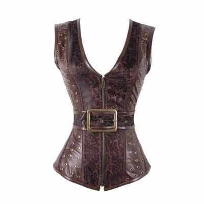 corselet corset espartilho plus size couro com alças p a 2gg