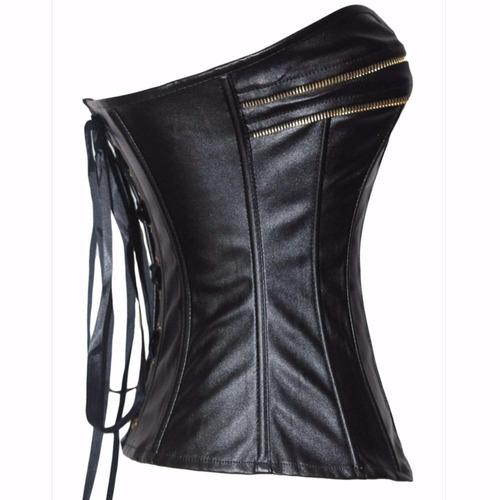 corselet corset luxo couro pu  espartilho á pronta entrega