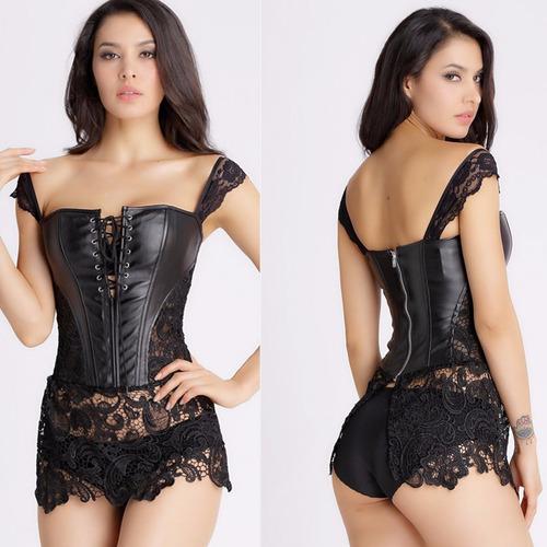 corselet corset sensual renda couro espartilho gótico sexy