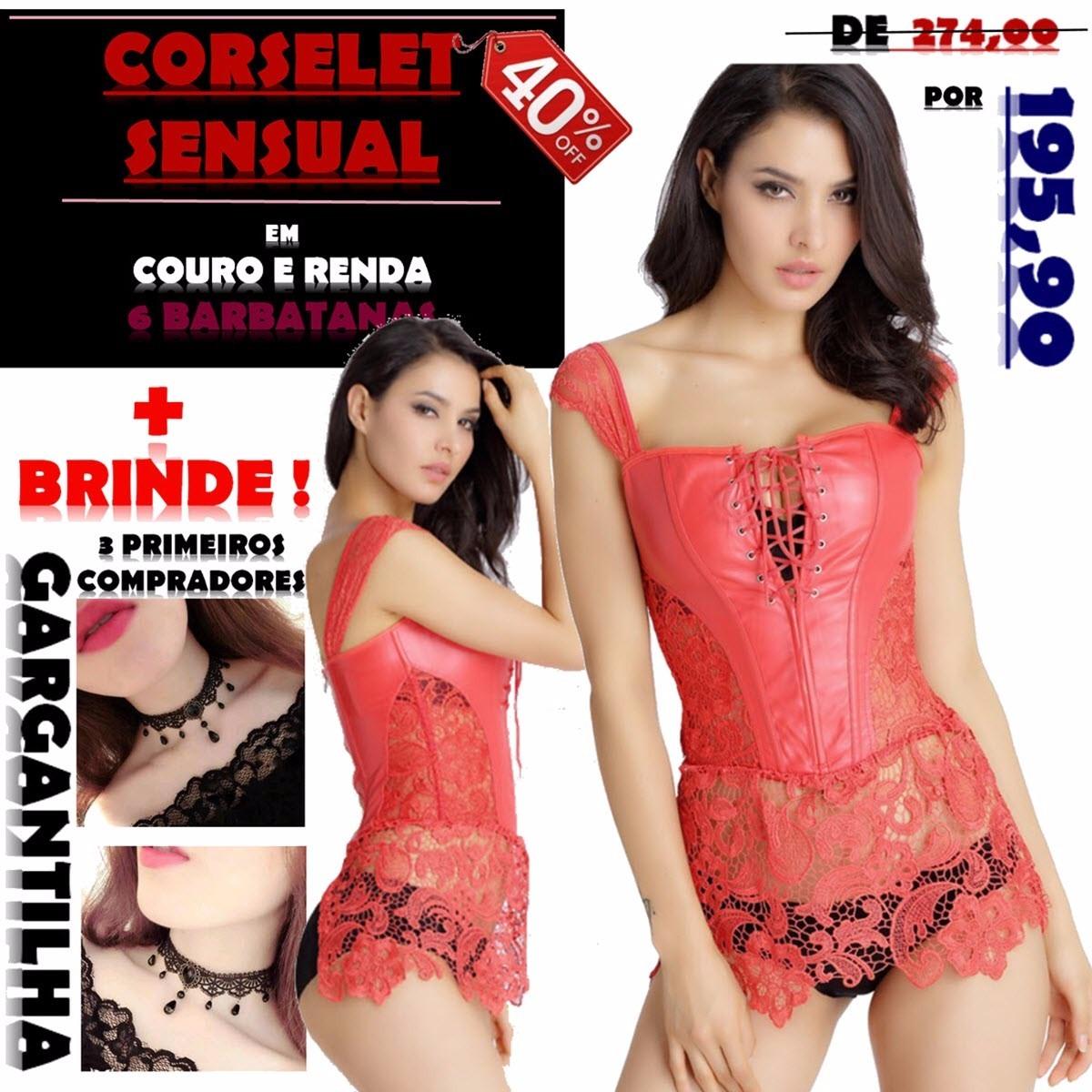 d00dc73dd Corselet Vermelho Com Renda Couro Corset Sensual Gótico Sexy - R ...