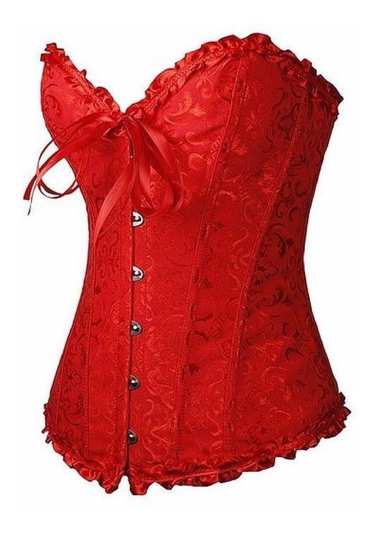 6b1a73e7af0f75 Corset Corpete Corselet Cetim Floral Modela Cintura Vermelho