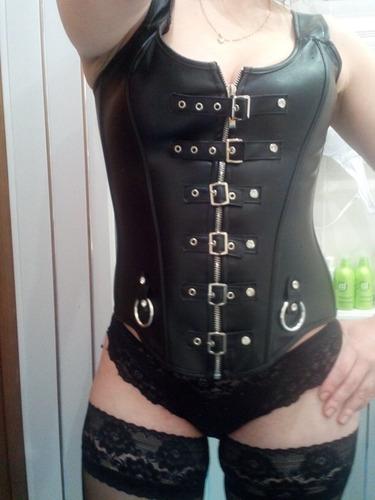 corset corselet corpete espartilho gotico preto couro fivela