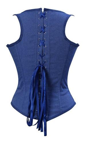 corset corselet corpete espartilho  jeans com alça