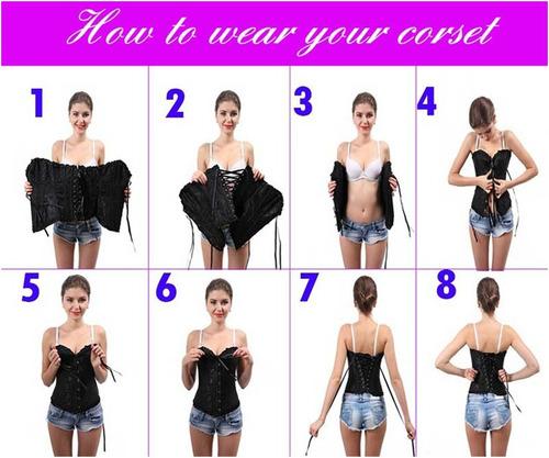 corset corselet corpete espartilho preto listrado com alça