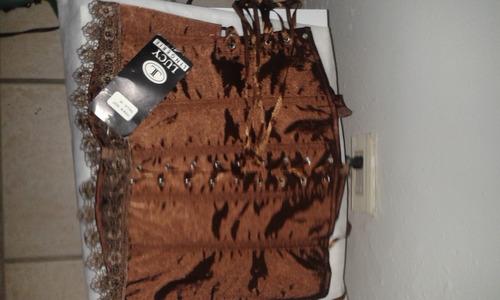corset dama color marron satinado lucy talla m con panty