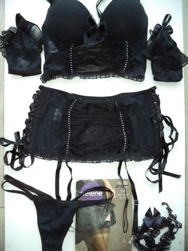 corset em tule e renda acompanha calcinha - saia - luvas