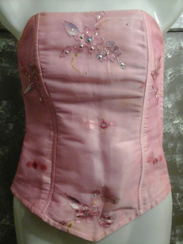 corset fiesta rosado bordado en espejitos lentejuela talle s