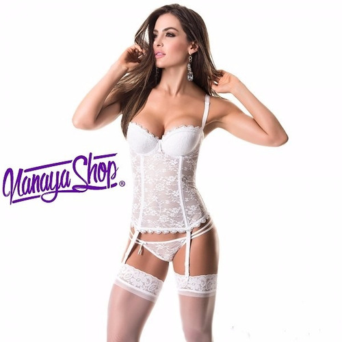 corset+hilo+liguero sensual lenceria mujer marfil