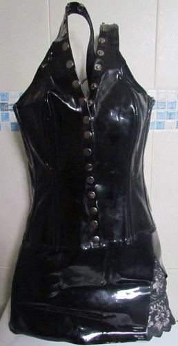 corset latex vinil no catsuit