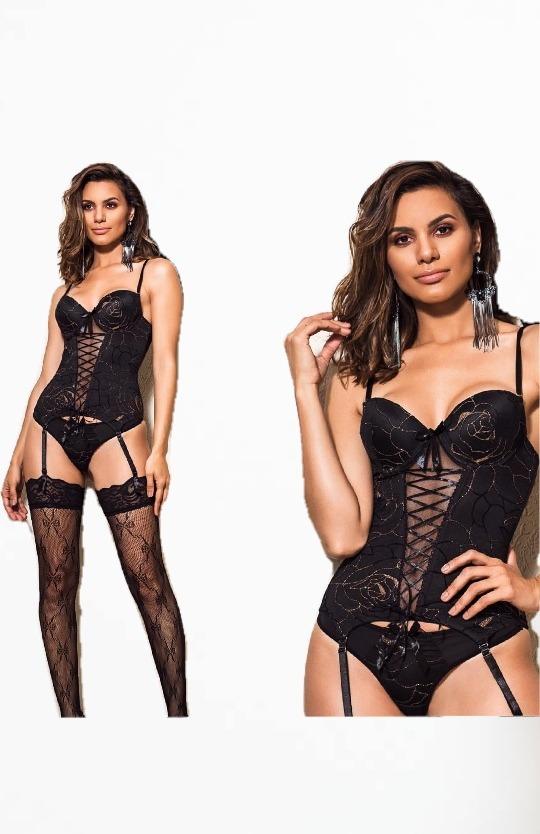328df262c corset luxo renda preto meia p m g gg bojo lingerie sensual. Carregando zoom .