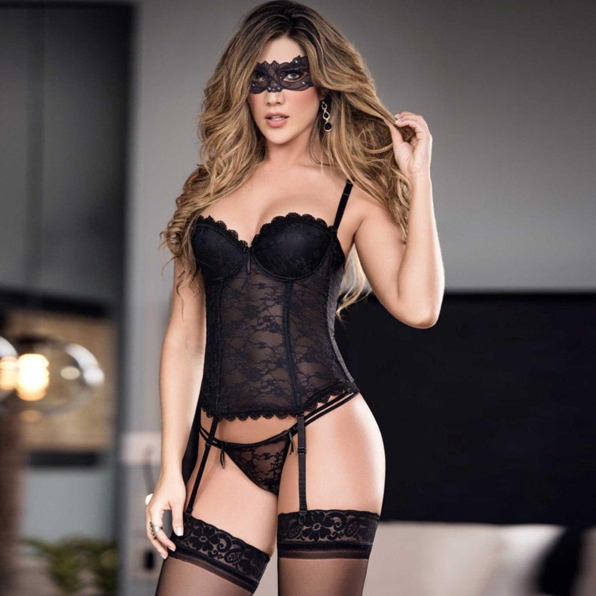 Corset + Medias Silicona Mujer Lenceria Sexy Babydoll -   109.900 en  Mercado Libre 30d964ad80bb
