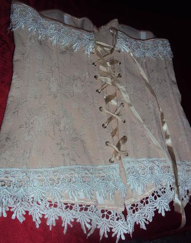 corset rosa com renda bege pronta entrega tamanho m