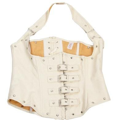 corset xxl talla 40 imitación piel blanco chaleco motociclis