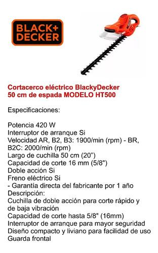 corta cerco eléctrico black decker espada 50cm ht500