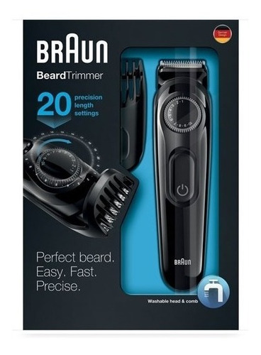 cortacabello braun bt3020 con cortabarba y afeitadora