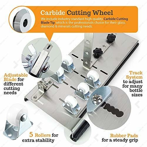 cortador botellas de vidrio redonda cuadrada ovalada 3 pasos