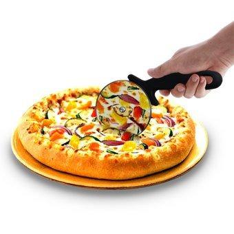 cortador circular de pizza en acero inoxidable, corta y porc
