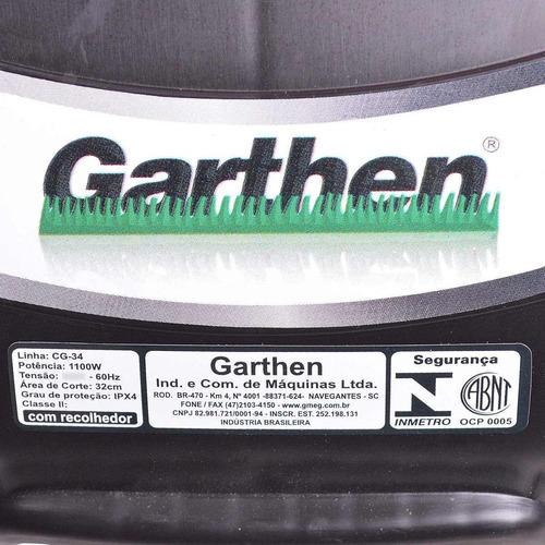 cortador de grama 1100w com recolhedor gc-34 garthen 220v