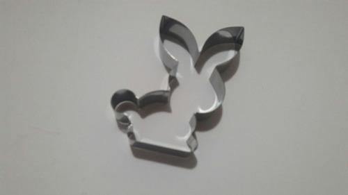 cortador páscoa corpinho e carinha de coelho - 2 peças inox