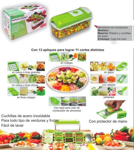 cortador rallador multiple frutas verduras mandolina acero