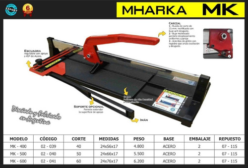 cortadora de ceramica manual mharka mk-600 60cm cuotas