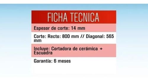 cortadora de ceramica porcelanato 80cms + escuadra + rodel