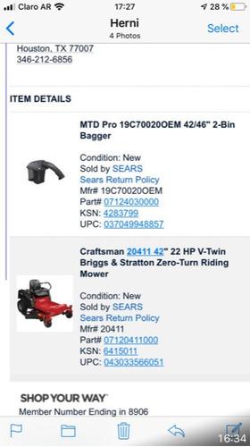 cortadora pasto cesped craftsman tractor nueva