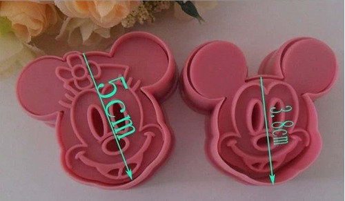 cortante mickey minnie 4 piezas repostería cookies porcelana